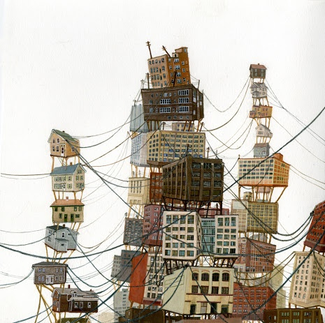 Cities in balance: Balance, Cases Le, Houses Art, Architecture Art, Cases Imaginary, Amy Casey Illustrations 4, Meaning Bits, Imaginary Houses, 3 Art Typograghi