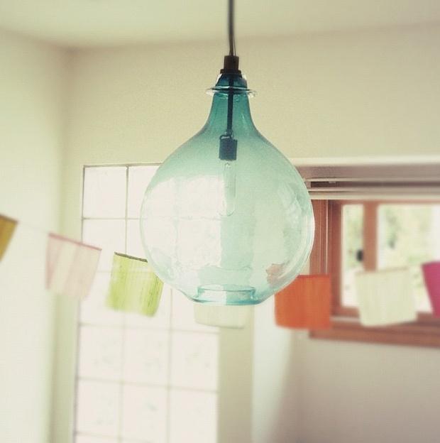 recycled glass jar pendant lamp