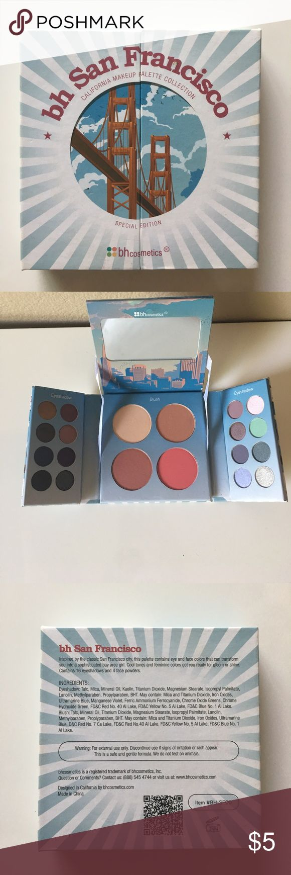 bh San Francisco make up pallete Cute little palette comes with 16 eyeshadows, two blushes highlighter and bronzer. Only swatched, never used. bh cosmetics Makeup