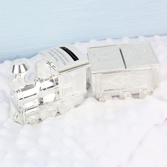 Personalised Train Money Box with First Tooth and Curl Carriage  http://justtherightgift.co.uk/personalised-train-money-box-with-first-tooth-curl-carriage-