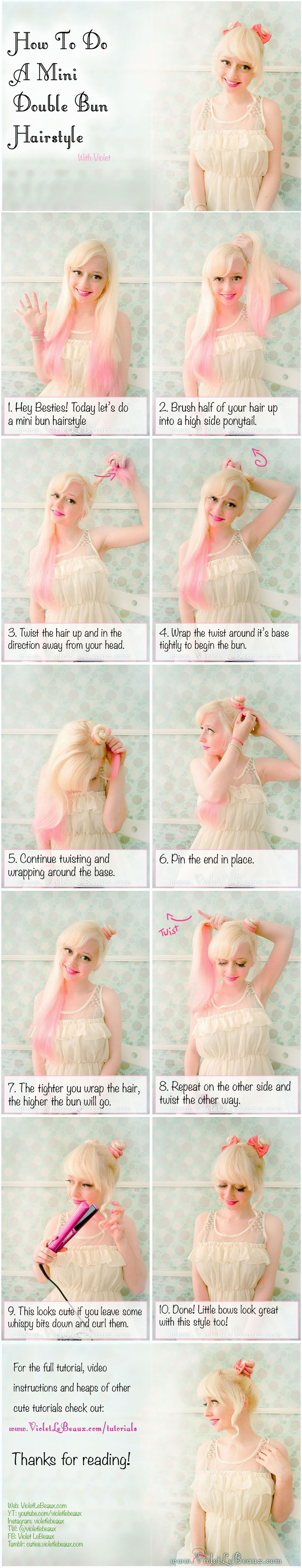 Mini Double Bun Hairstyle Tutorial | Violet LeBeaux- Cute Free Craft Tutorials