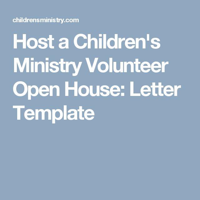 Host a Children's Ministry Volunteer Open House: Letter Template
