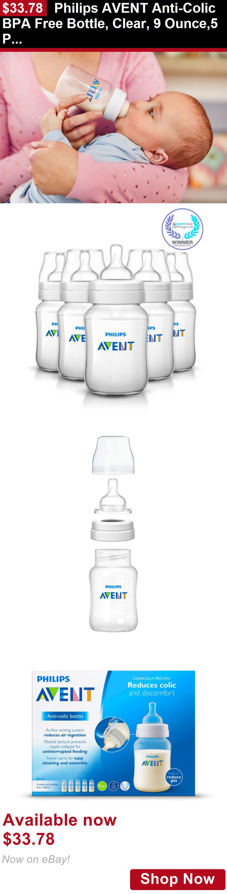 Baby Bottles: Philips Avent Anti-Colic Bpa Free Bottle, Clear, 9 Ounce,5 Piece BUY IT NOW ONLY: $33.78