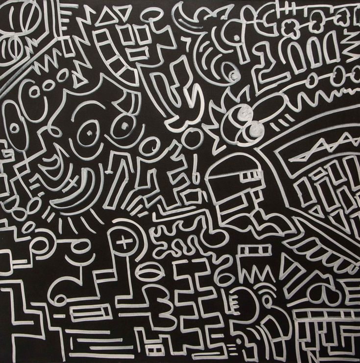 Black And White Wall Artideas: Drawing: Acrylic, Black & White And Marker On Canvas