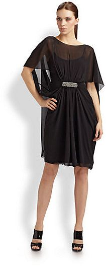 $440, Black Chiffon Party Dress: Teri Jon Chiffon Cocoon Dress. Sold by Saks Fifth Avenue. Click for more info: https://lookastic.com/women/shop_items/78917/redirect