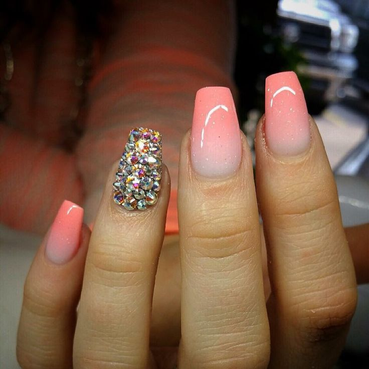 Pink ombré with rhinestone