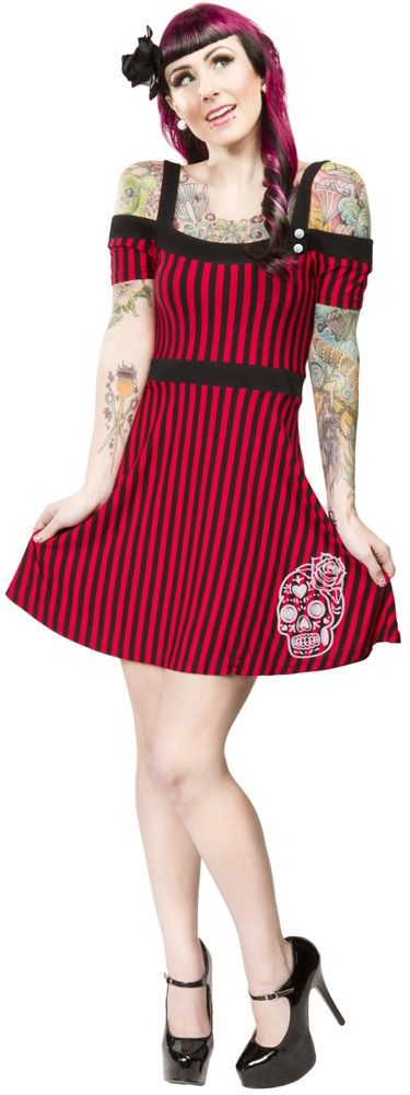 SOURPUSS SUGAR SKULL MIA DRESS Swing, swing, swing the night away in the Sourpuss Mia dress! This black & red striped off the shoulder dress features black straps, flattering waist band that goes into a flared skirted bottom with a white sugar skull flocked print at the bottom hem.  $44.00