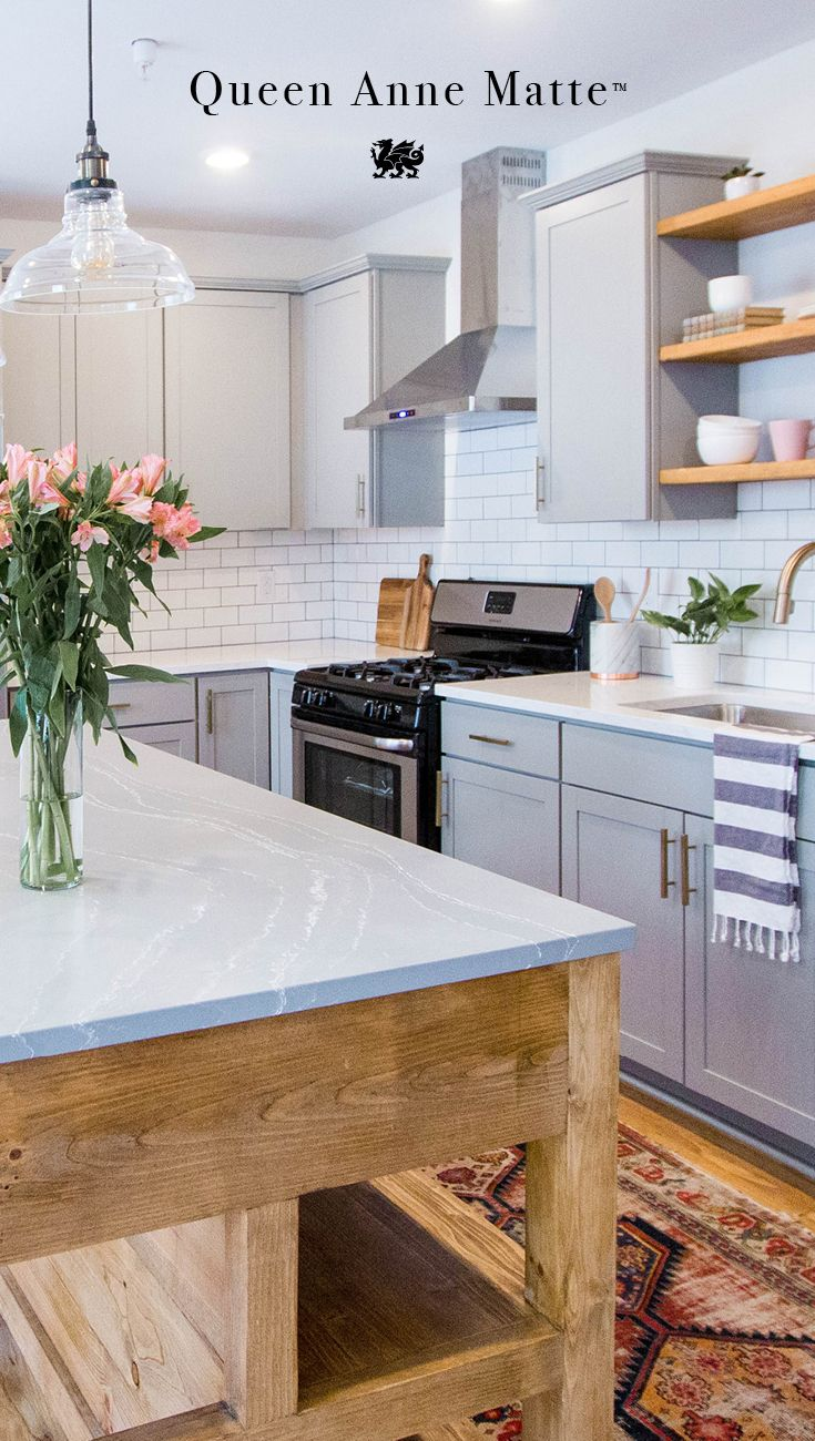 ... Farmhouse Island Elevates A Rustic Kitchen Table With Cambria Queen  Anne Matte Quartz Countertops, A Maintenance Free Alternative To Marble  Countertops.