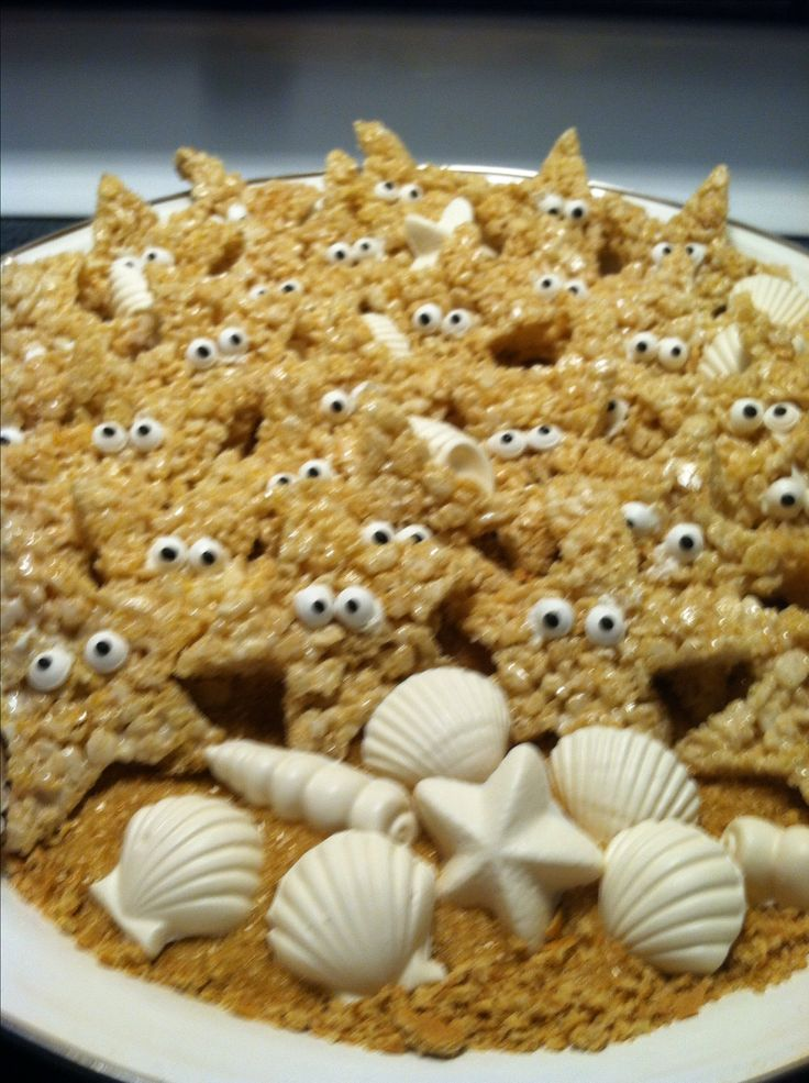 "My version of Rice Krispie starfish treats with white chocolate candies for an ""Under the Sea"" party !"