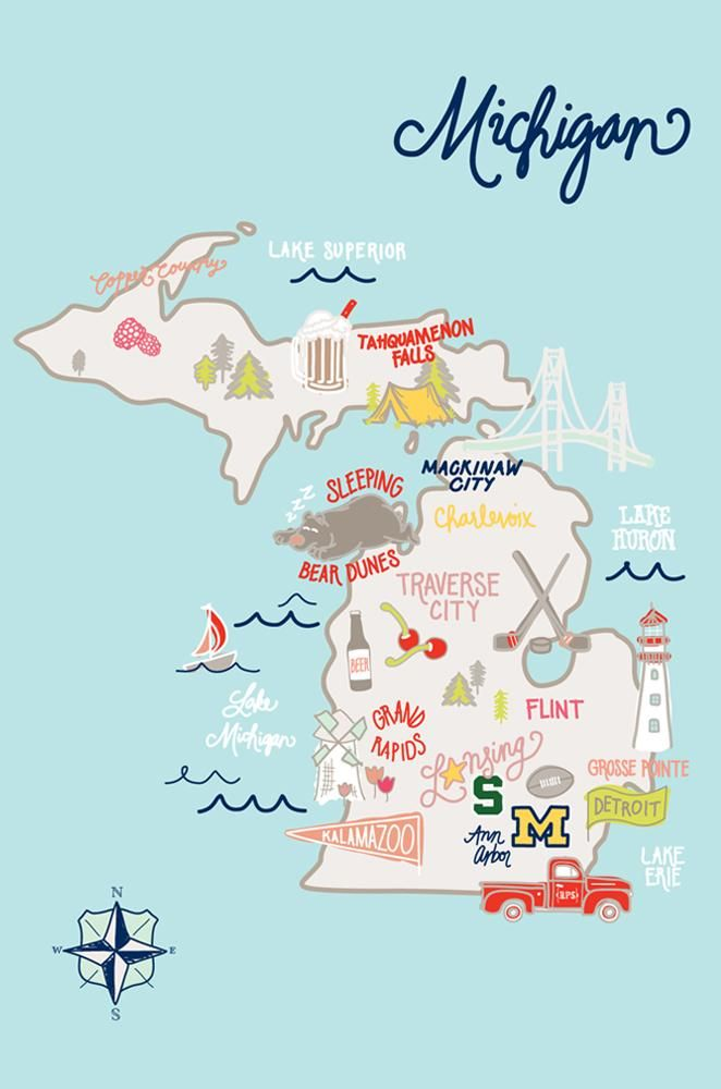 Celebrate The Mighty Mitten State With Our Michigan Map Postcard