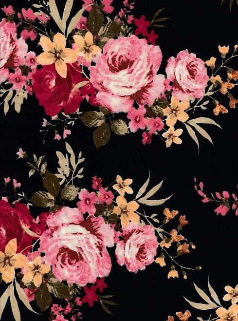 dc6ea0ac1 Floral Knits DTY Brushed Polyester Knit Spandex Fabric - DTY Brush F8175  Black-Rose