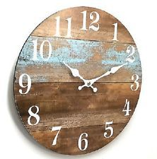 Wall Clock One Teal Board Rustic Washed 34cm New Marine Theme Beach Decor