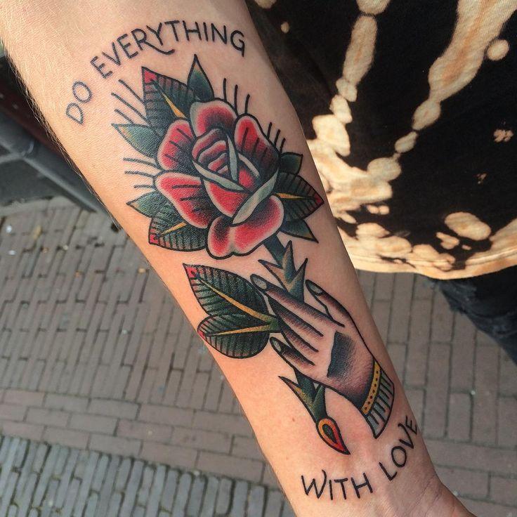 Rose on @madman_mark ! Thanks! #tattoo #tattooart #traditionaltattoo…