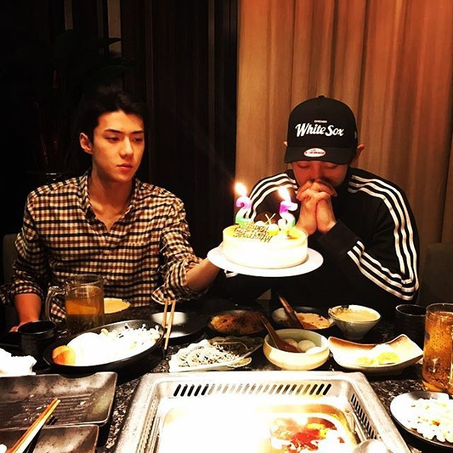 Sehun's IG Update with Chanyeol wishing him a happy birthday
