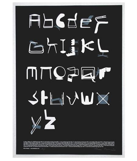 chairs as letters in the alphabet via Design Milk