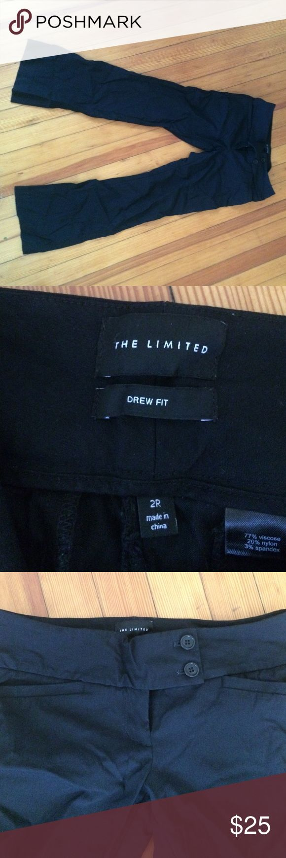 """Black drew crop Capri pants 14"""" waist 17"""" hips 27"""" inseam. Form fitting hip area and kick flare at the bottom. Heavy stretch fabric. Pics are wrinkled but otherwise perfect condition. Limited Pants Ankle & Cropped"""