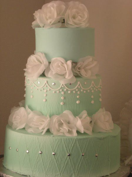 Mint Colored Cake With White Flowers Wedding Ideas Pinterest White Flow
