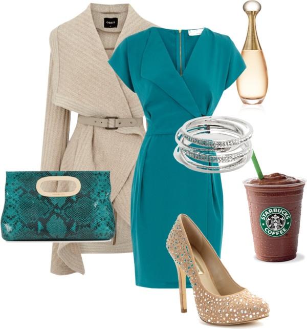 Navy Turquoise Dress