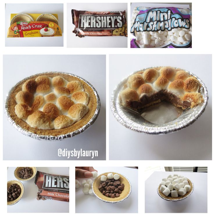 mini s'mores pie ••••• Materials: •Keebler Ready Crust (graham) mini pie crust •Hershey's milk chocolate chips •mini marshmallows ••••• Steps: 1.fill pie crust half way with chocolate chips 2.top pie crust with mini marshmallows 3.place pies on nonstick pan, place in the oven on 325 degrees 4.bake for 6-8 minutes (or until marshmallows are brown and chocolate is melted) 5.let cool for 30 minutes and freeze for 10-15 minutes Enjoy! •••••
