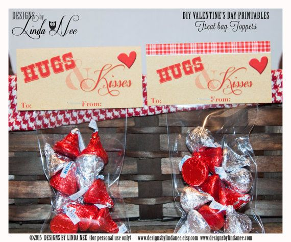 Valentine Candy Topper - HUGS and KISSES! DIY Valentine Craft ~ Valentines Day Treats and Cards ~ Classroom Party ~ You may trim and use as a Valentines Day Card too!  These wrappers are a fun and inexpensive treat for your childs class, neighbors, friends or family! They also make great party favors! ____________  Please see my additional printables including gift tags, Hershey Bar wrappers, mini candy bar wrappers, cupcake toppers and more for a complete PARTY PACKAGE!   DIRECTIONS: (1)…
