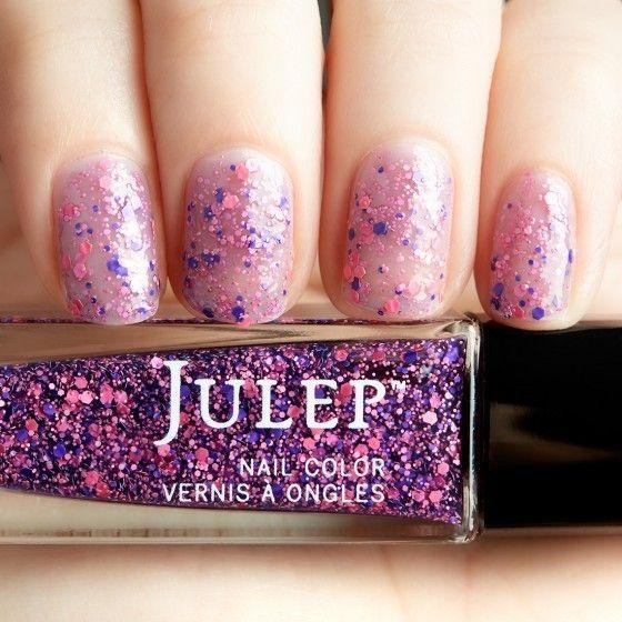 Floral bouquet matte glitter top coat nail polish