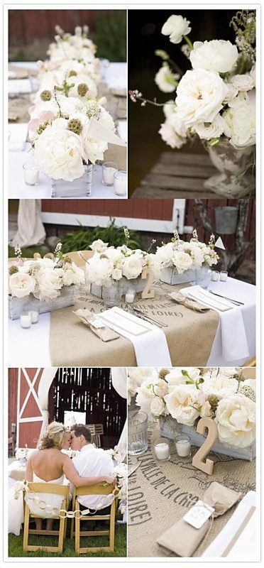 neutral decore.. picture with flowers in pewter vases, aqua napkins  white lace over the oatmeal linen, white chairs
