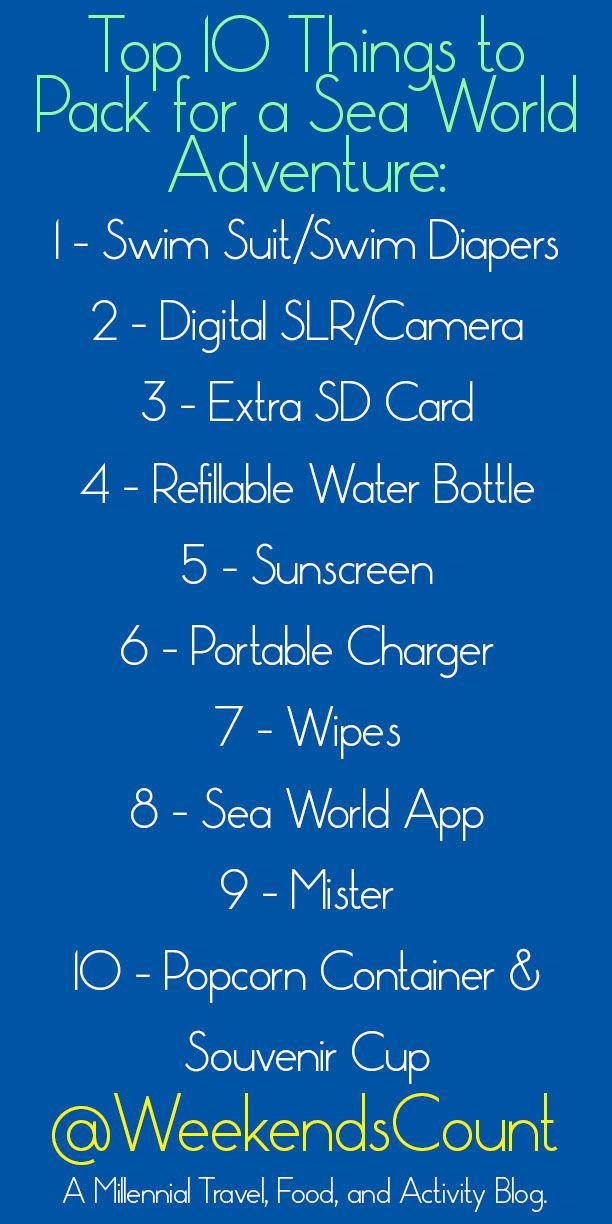 Weekends Count! - Fun Family Activities and Family Weekend Getaways for Busy Families: Top 10 Things to Pack for a Sea World Adventure (or Other Theme Park)  To pack for a theme park, especially Sea World in San Antonio, we always have to prepare in advance and order some essentials for Amazon!