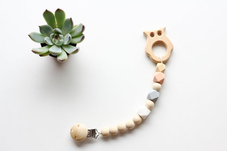 Silicone and Wooden Teether clip   Silicone teether, Wooden Toy Clip, Soother Clip Wood and Mint silicone beads  Silicone teether, Wooden Toy Clip, Soother Clip   Wood and Peach silicone beads