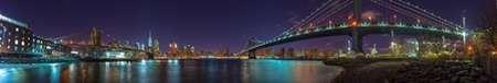 Brooklyn bridge and Manhattan bridge over East river, Lower Manhattan, New York