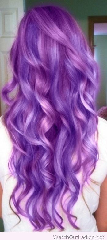 Long curly purple hair