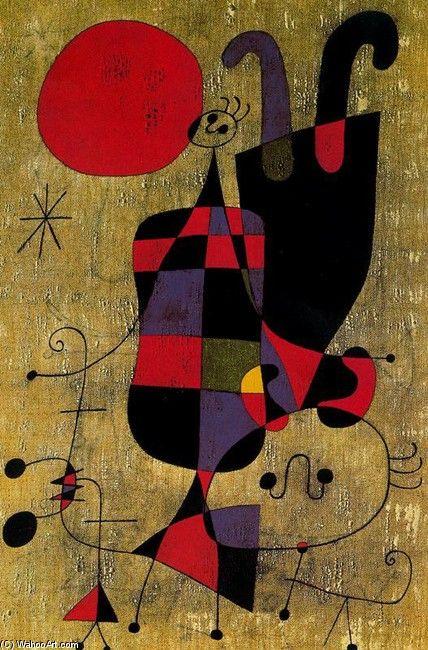 Joan Miro >> Personajes y perro ante el sol | (oleo, obra de arte, reproducción, copia, pintura).