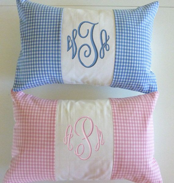Baby Girl Pillow Baby Boy Pillow Embroidered by TheQuiltedKitchen, $45.00