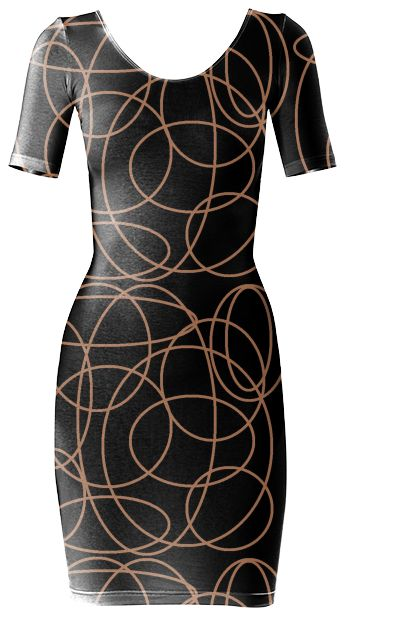 Black and brown doodles Bodycon dress by khoncepts.com