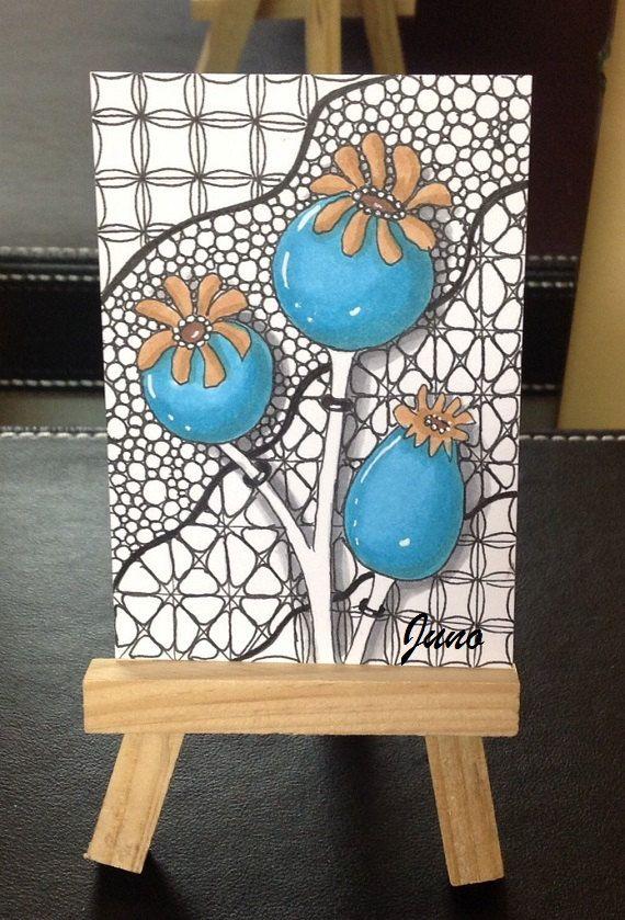 Zentangle blue poppy