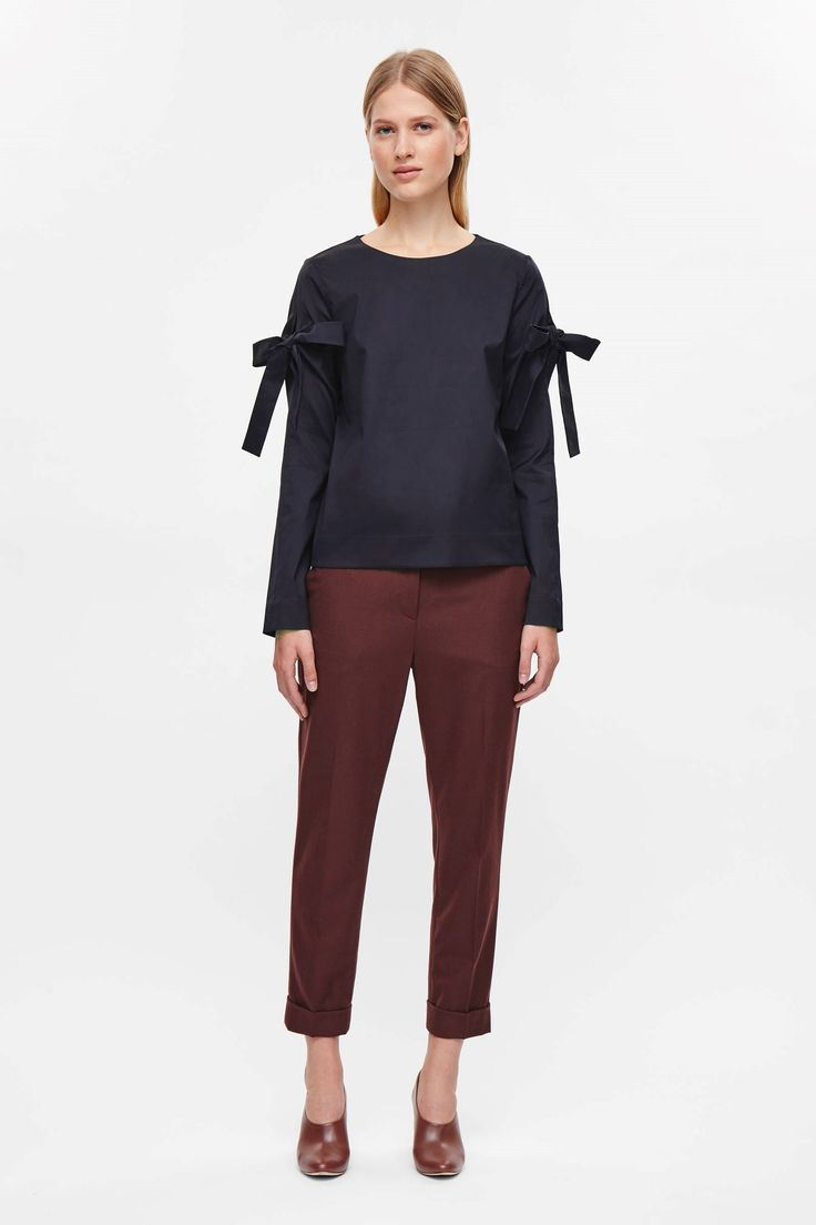 COS image 11 of Top with sleeve ties in Navy