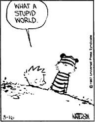 "Calvin and Hobbes QUOTE OF THE DAY (DA): ""What a stupid world."" -- Calvin/Bill Watterson"