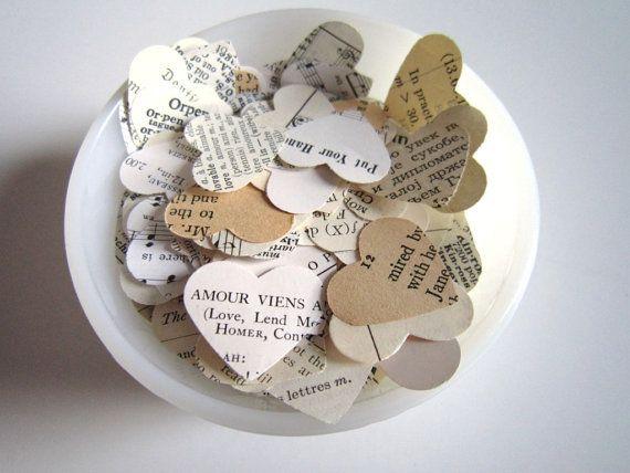 Romantic Heart Confetti / vintage wedding decor by TheLonelyHeart