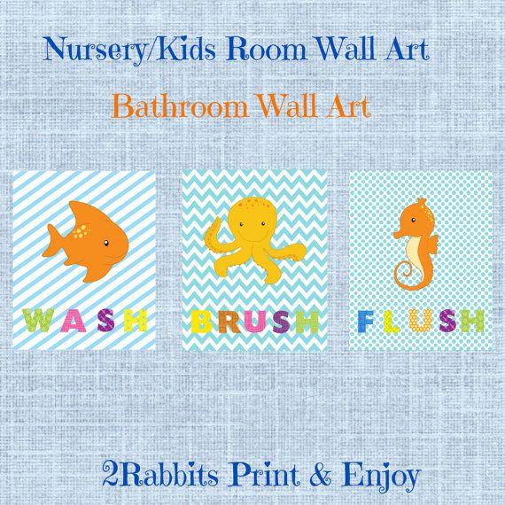 #Wash #Brush #Flush 3 Nursery/kids wall arts. Great idea to use them at your kids bathroom. by 2RabbitsPrintEnjoy on Etsy
