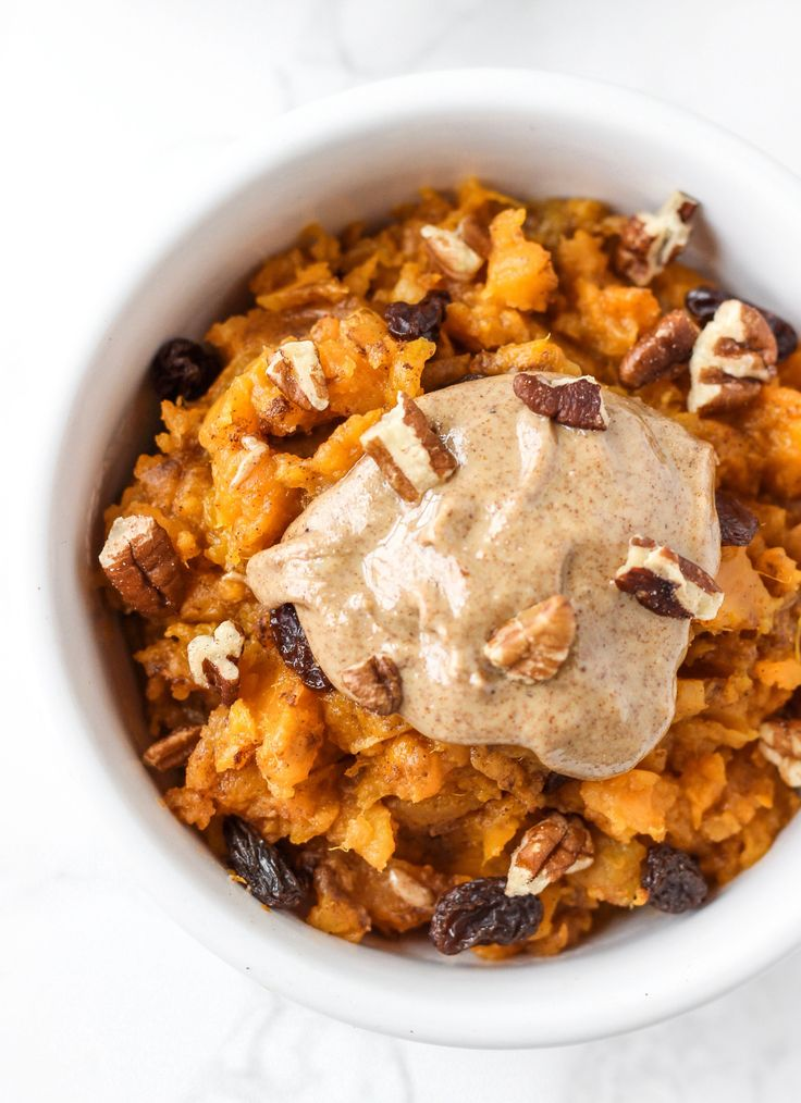 (Sub stevia for honey, omit raisins, and use 1/4 cup nuts) This sweet potato breakfast bowl is an easy, make-ahead healthy breakfast that tastes like sweet potato casserole! Makes 2 veggie/healthy fat servings.