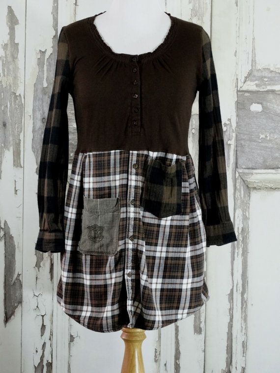 Upcycled Dark Brown Flannel Tunic Dress Rustic Style Boho Chic Shabby Chic Eco…