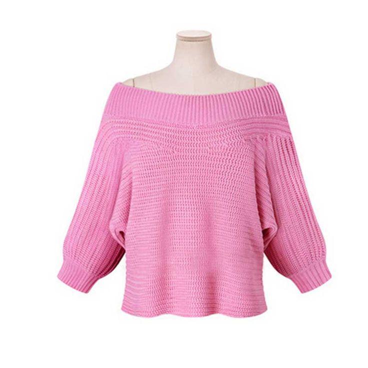 Зима новый женская одежда Batwing рукавом лодка вырезом широкий трикотаж блузки топы трикотажные свитера Blusa розовый купить на AliExpress