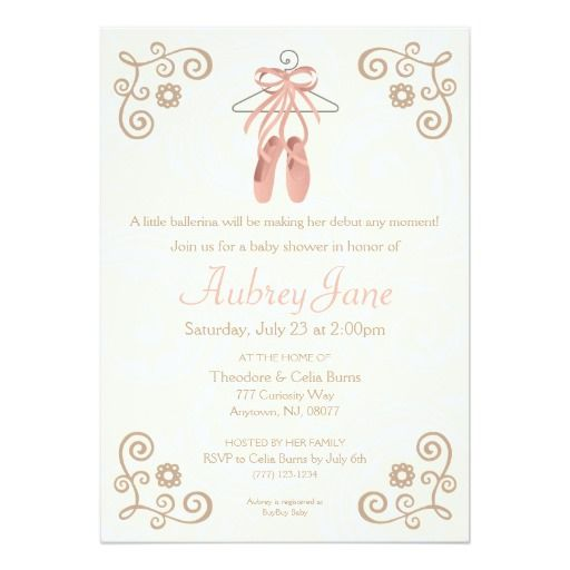 "Ballerina Shoes Ballet Baby Girl Shower Invitation 5"" X 7"" Invitation Card"
