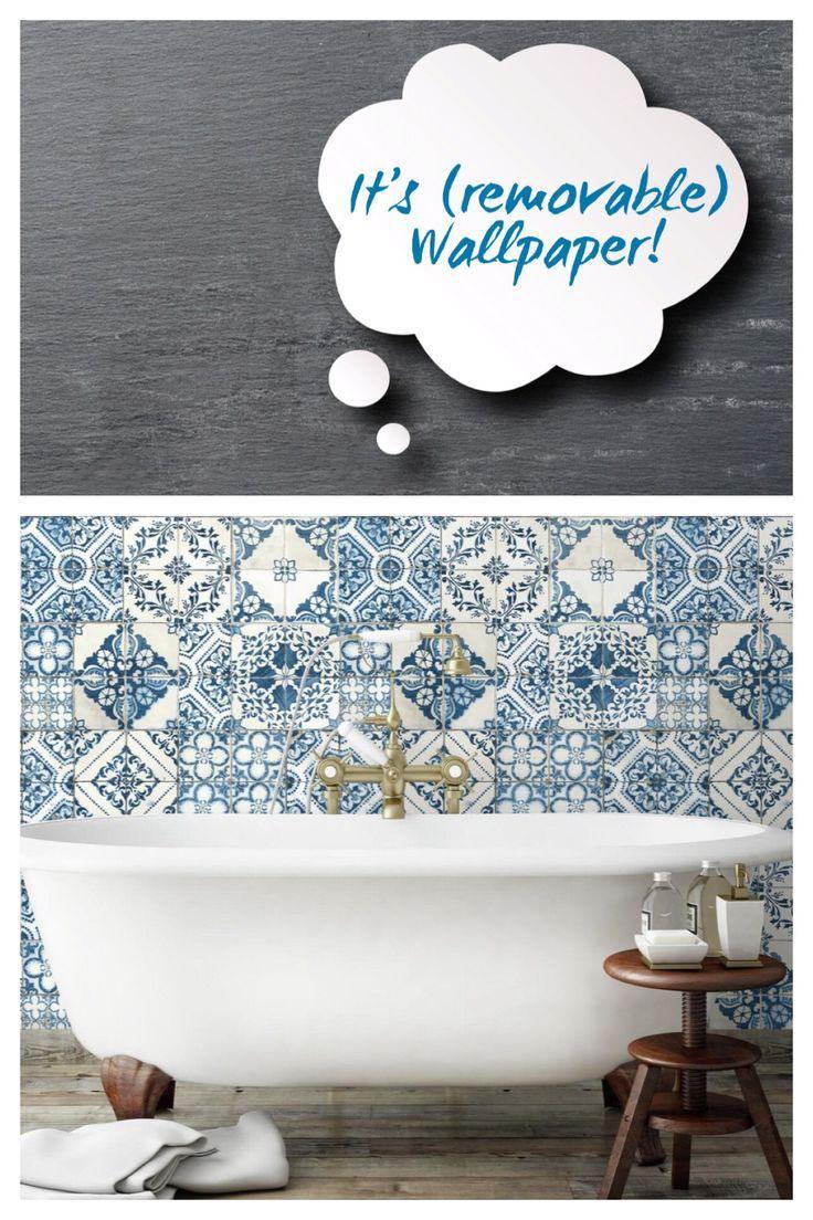 Mediterranian Tile Peel Stick Wallpaper Blue Target Wallpaper Accentwall Peelandstickwallpaper Affil Diy Stairs Diy Wallpaper Temporary Decorating