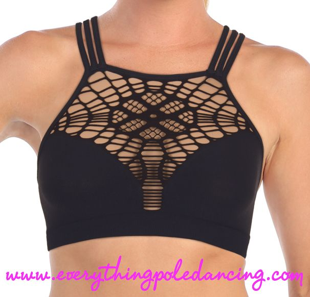 Web front crop top (also available in blue and red) from www.everythingpoledancing.com