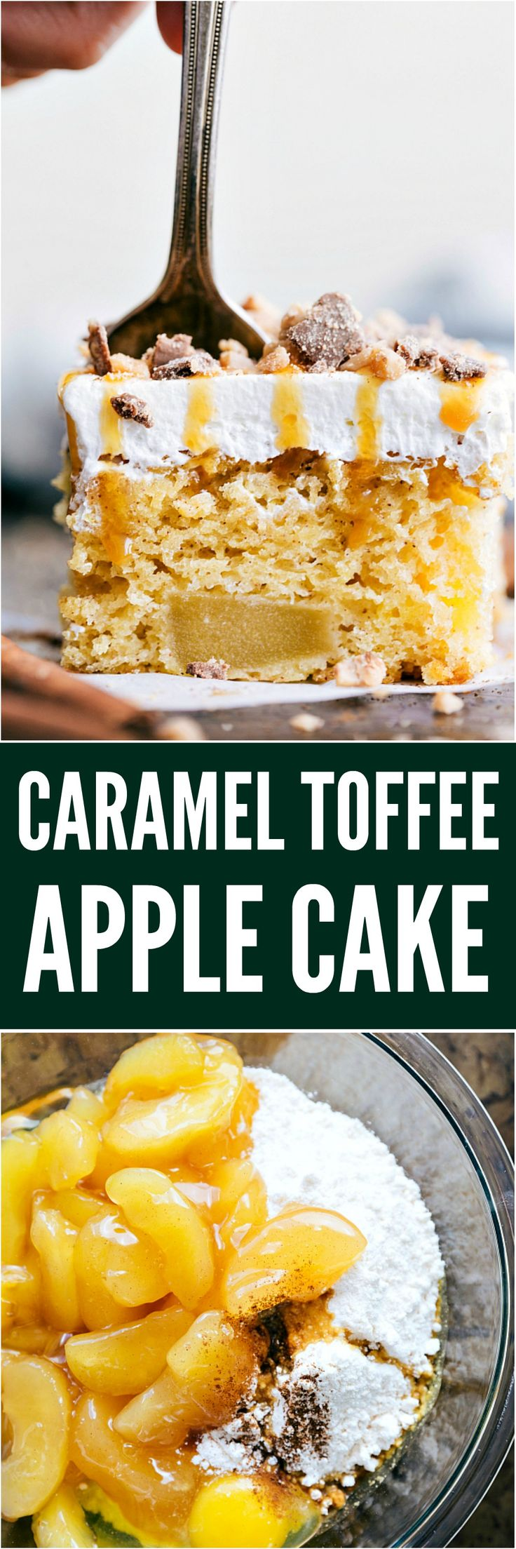 Caramel Toffee Apple Cake is a tender and moist cake with apples baked right inside! Topped with cool whip topping toffee bits and drizzled in caramel, this will become a new favorite!