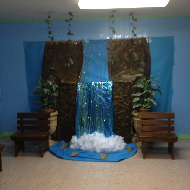 Waterfall for VBS 2012 | Crafts | Waterfall decoration ...