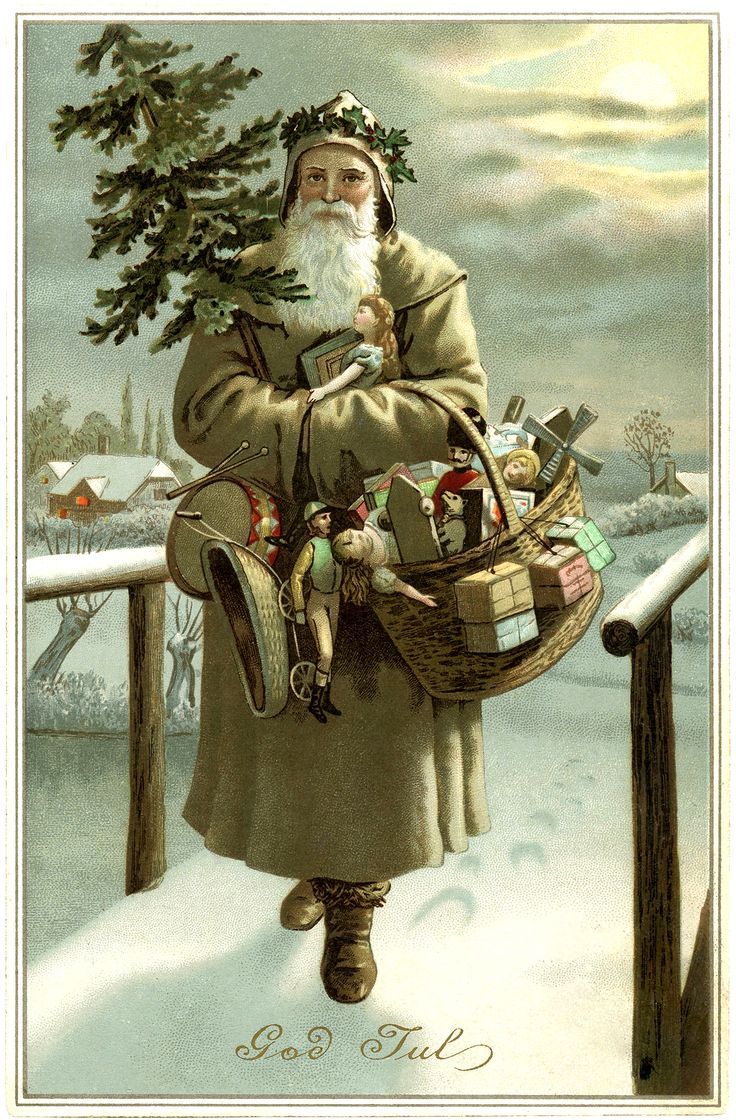 """This is a beautiful Old World Swedish Santa! The glorious looking Santa has a light colored coat, he has a holly wreath on his head and he's carrying a small Christmas tree and lots of toys! The greeting on the card is """"God Jul"""" (Merry Christmas)."""