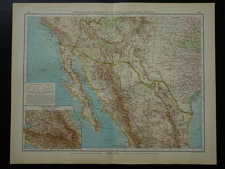 Antique Map Of Mexico Arizona Texas Beautiful Original 1910 Large Old Print Southwestern Us