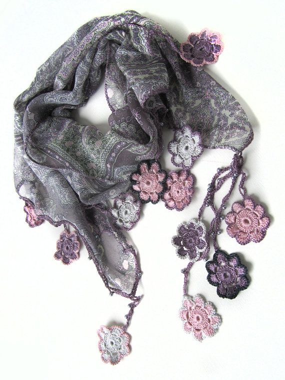 Chiffon scarf / Crochet Flowers scarf.. by SEVILSBAZAAR on Etsy