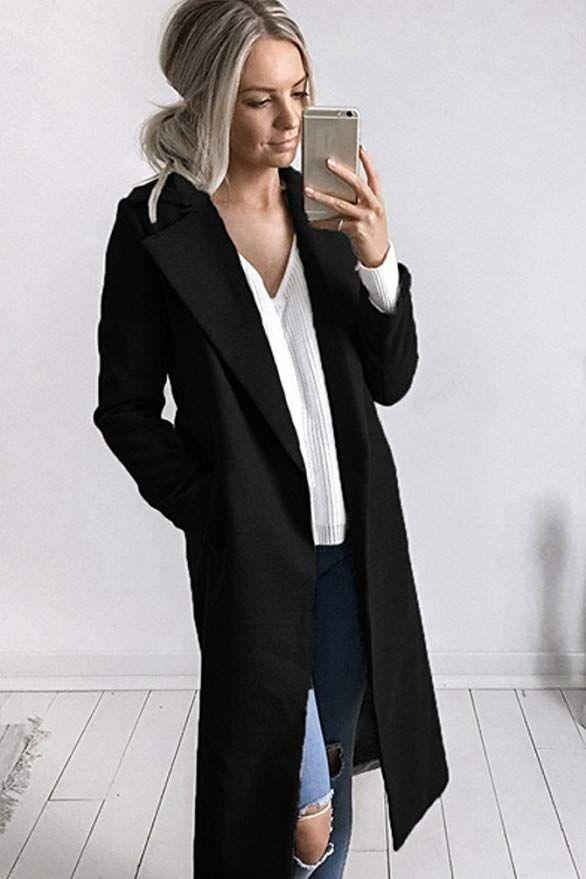 Sentao Donna Invernale Cappotto Lungo Manica Lunga Elegante Trench Blazer  Giacca Parka Outwear  Amazon.it  Abbigliamento  C…  10f8516007a